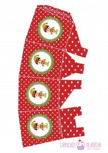 Caja para chuches roja navidad montaje logo