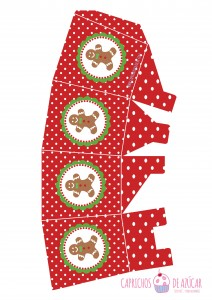Caja para chuches rojo ginger montaje logo